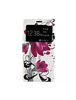 Purple Morning Glory Pattern Voltage Window Special Design PU Leather Full Body Case for Huawei P8