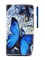 Для Кейс для Wiko Кошелек / Бумажник для карт / со стендом / Флип / С узором Кейс для Чехол Кейс для Бабочка Твердый Искусственная кожа
