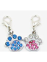 Rhinestone Decorated Dog Paw Style Collar Charm for Dogs Cats(Assorted Colors)