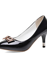 Women's Shoes Patent Leather Summer/Pointed Toe Heels Office & Career/Casual Cone Heel Bowknot /Sparkling GlitterBlack