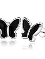 Concise Silver Plated Black Butterfly Stud Earrings for Party Women Jewelry Accessiories