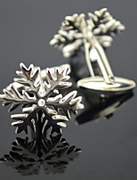 Toonykelly Fashion Men's Silver Copper Snow Crystal Party Cufflink Button(1 Pair)
