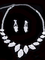 Fashion Women's Silver Rhinestone Necklace&Ring Set