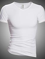 Men's Casual Solid V Collar Slim Short Sleeved T-Shirt