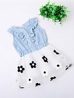 Baby Girls Summer Cowboy Flouncing Tops Waist Flower Princess Party Tutu Dresses (Cotton Blends)