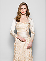 Women's Wrap Shrugs Long Sleeve Satin Champagne Wedding / Party/Evening Wide collar Draped Open Front