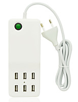 Universal 12A 6-Port USB Charger + Outlet EU Plug Socket Strip w/ Switch / Indicator(150cm/110~240V)