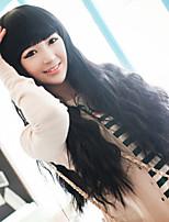 Fashion Black neat bang corn hot curly hair wig