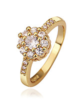 Sweet Flower Shape Environmental Protection Material Alloy Female  Zircon Ring (Gold Palting,Rose Gold Plating)(1Pc)