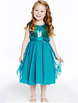 Girl's Summer Sleeveless Sequins Tulle Tutu Party Evening  Dress (Cotton Blend)