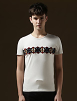 Men's Short Sleeve T-Shirt , Cotton Casual/Work/Sport/Plus Sizes Pure