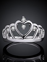 Fashion Crown Silver Plated Copper Foreign Trade Zircon Ring(Silver)(1Pc)