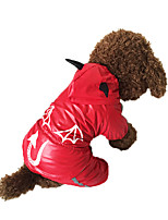 Red Devil Waterproof Windproof Cotton Rain Coat For Dogs Pets
