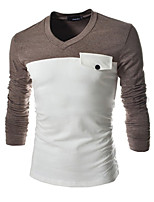 Men's Fashion Spell Color Long-sleeved T-shirt