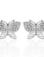 Lovely Silver Plated Clear Crystal Butterfly Stud Earrings for Party Women Jewelry Accessiories