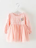 Girl's Half Sleeve Cute Mesh Hollow Out Cotton Dress