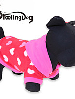 DroolingDog® Lovely The peach heart Pattern  Fleeces Hoodies T-Shirt for Dogs(Assorted Sizes)