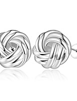 Concise Silver Plated Twist Style Flower Stud Earrings for Party Women Jewelry Accessiories