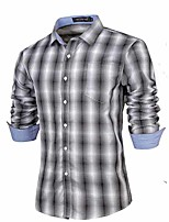 Men's Long Sleeve Shirt , Cotton Blend Casual/Work Plaids & Checks