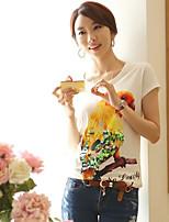 Women's Vintage Sexy Casual Print Cute Party Micro Elastic Short Sleeve Regular T-shirt (Cotton)