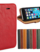 For iPhone 8 iPhone 8 Plus iPhone 5 Case Case Cover Wallet Card Holder with Stand Flip Full Body Case Solid Color Hard Genuine Leather for