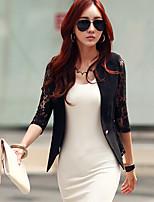 Women's Sexy/Print/Lace/Work Medium ¾ Sleeve Regular Blazer (Lace/Spandex)