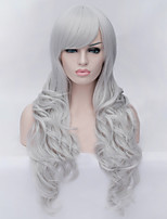 The New Cartoon Color Wig Silver Inclined Bang Curly Hair Wigs
