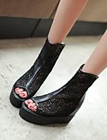 Women's Shoes Tulle Flat Heel Peep Toe Sandals Office & Career/Dress Black/White