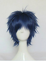 Blue Cosplay Wig Synthetic Hair Wigs Man's Short Straight Animated Wigs Party Wigs