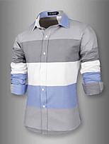Men's Long Sleeve Shirt , Cotton Blend Casual/Work Pure