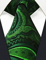 UXL30 Handmade Men's Neckties Green Paisley 100% Silk Business New Casual Classic