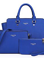 Women PU Weekend Bag Tote - Purple / Blue / Red / Black