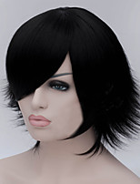 The New Cartoon Color Wig Black Become Warped Short Straight Hair Wigs