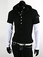 Men's Long Sleeve T-Shirt , Cotton Blend Casual/Work/Sport Pure