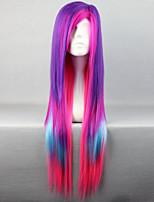la nouvelle perruque personnages d'anime couleur multicolore mélangé perruques de cheveux longs droites