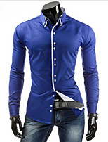 Men's Simple Solid Color Stitching  Casual Shirt Long Sleeve Shirt