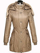 Women's Long Sleeve Parka Coat , Casual Plus Sizes Polyester