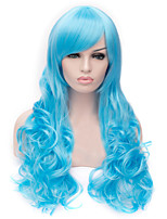 The New Cartoon Color Wig Water Blue Inclined Bang Curly Hair Wigs