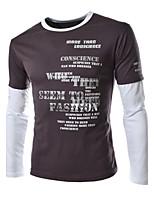 Katoenmix - Effen - Heren - T-shirt - Informeel - Lange mouw