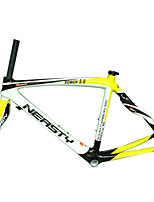 RB-NT28+FK-NG28 Neasty Brand 700C Full Carbon Fiber Frame and Fork 3K/12K  Weave White and Yellow Neasty Logo 1-1/8