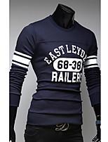 Men's Casual/Sport Print Long Sleeve Regular T-Shirts (Cotton Blends)