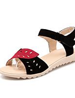 Women's Shoes Leather Flat Heel Open Toe Sandals Office & Career/Dress Black/Red
