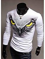 Masculino Camiseta Casual/Esporte Estampado Misto de Algodão Manga Comprida Masculino