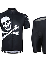 ARSUXEO  ZSS01-K Spring Skull Short  Sleeve Jersey Suits White + Black (L)