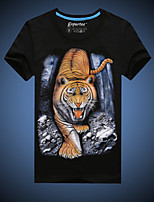 Men's Short Sleeve T-Shirt , Cotton Casual/Plus Sizes