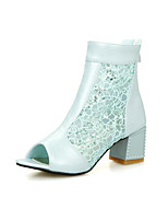 Women's Boots Spring / Summer / Fall Comfort Tulle / PU Office & Career / Dress / Casual Chunky Heel Sequin / Zipper / Split JointBlack /