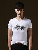 Tee-Shirt Décontracté/Travail/Sport/Grandes Tailles Pour des hommes Manches Courtes A Motifs/Couleur plaine Coton