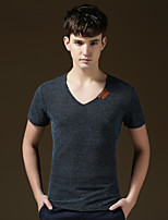 Men's Short Sleeve T-Shirt , Cotton Casual/Work/Plus Sizes Pure