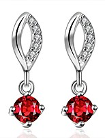 Concise Silver Plated Red Crystal Ruby Drop Earrings for Party Women Jewelry Accessiories