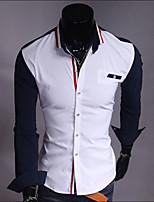 Men's Fashion Colored Stripe Hit Color Elastic Slim Long Sleeved Shirt